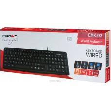 Клавиатура CROWN CMK-02, проводная, USB, черная, 104 клавиши, длина провода: 1.8 м